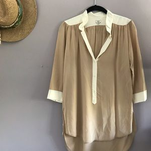 Nude and Ivory Colorblock Silk Blouse